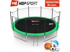 Батуты детские и для взрослых Hop-Sport 488 см. Зеленый с внутренней сеткой - 5 ножки, Германия. Гарантия 24 мес.