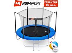 Батуты детские и для взрослых Hop-Sport 244 см. Синий с внутренней сеткой - 3 ножки, Германия. Гарантия 24 мес.