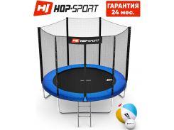 Батуты детские и для взрослых Hop-Sport 244 см. Синий с внешней сеткой - 3 ножки, Германия. Гарантия 24 мес.