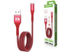 Кабель USB BRUM Flexible U003i Lightning (2.4A) (1M) Красный
