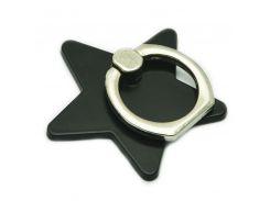 Кольцо держатель ZQGK Звезда для телефона Чёрный
