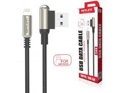 Кабель USB BRUM Metal U011i Lightning (2.4A) (1M) Чёрный