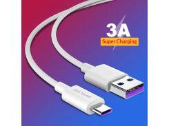 Кабель USB BRUM Silicon U019t Type-C (3A) (1M) Белый