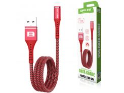 Кабель USB BRUM Flexible U003i Lightning (2.4A) (1M) Красный