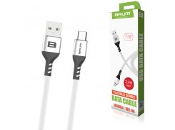Кабель USB BRUM Flexible U009m Micro USB (2.4A) (1M) Белый
