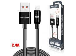 Кабель USB BRUM Silicon U015m Micro USB (2.4A) (1M) Чёрный