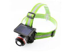 Фонарик налобный LED с акумулятором на лоб T855 XPE+солнечная батарея