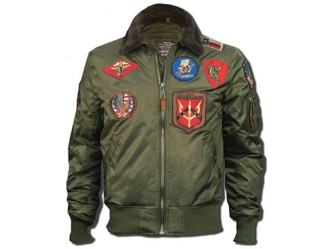 Бомбер Top Gun Official B 15 Flight Bomber Jacket with Patches, оливковий