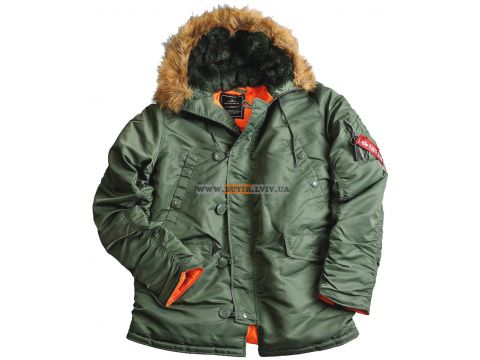 Куртка аляска N-3B Slim Fit Parka Alpha Industries, оливкова, USA Херсон