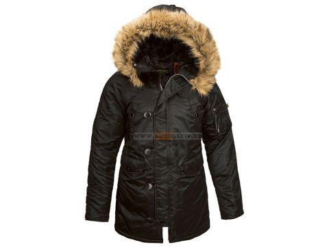 Зимова жіноча куртка аляска N-3B W Parka Alpha Industries, чорна, USA Чернигов