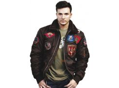 Бомбер Top Gun Official B 15 Flight Bomber Jacket with Patches, коричневий
