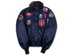 Top Gun Official B 15 Flight Bomber Jacket with Patches, синій