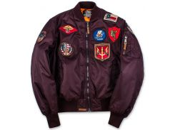 Бомбер Top Gun MA-1 Nylon Bomber Jacket with Patches, бордовий