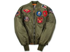 Бомбер Top Gun MA 1 Nylon Bomber Jacket with Patches, оливковий, USA