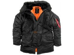 Куртка аляска Slim Fit N-3B Parka Alpha Industries, чорна