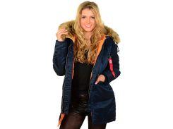 Зимова жіноча куртка аляска N-3B W Parka Alpha Industries, синя, USA