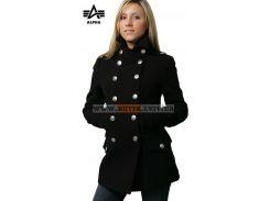 Ladies Wool Long Peacoat Alpha Industries, чорне