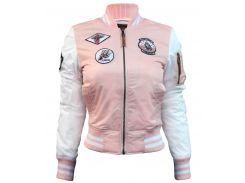 Бомбер Miss Top Gun MA-1 jacket with patches, рожевий