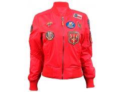 Жіночий бомбер Miss Top Gun MA-1 jacket with patches, червоний, USA
