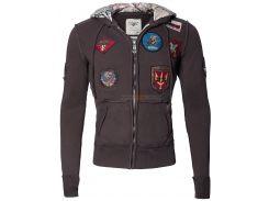 Реглан Top Gun Zip-Up Military Patched Hoodie, коричневий
