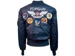 """Оригинальный бомбер Top Gun Official MA-1 """"WINGS"""" bomber jacket with patches TGJ1738 (Navy)"""
