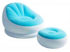 Надувное кресло с пуфом Intex 68572 Blue