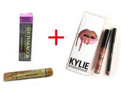 Набор тональный крем Dermacol плюс помада и карандаш для губ 2 в 1 Kylie 8611 (копия)