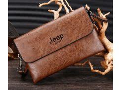 Мужской клатч барсетка Jeep Светло-коричневый