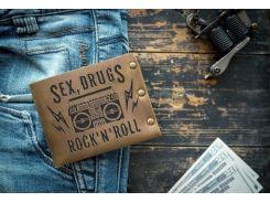 Мужской кожаный кошелек ТатуНаКоже, sex drugs & rock'n'roll
