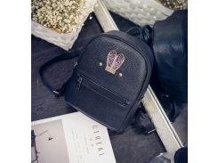 Женский рюкзачок мини с ушками Черный