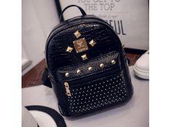 Женский маленький рюкзак лаковый Черный