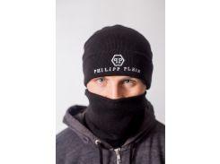 Теплая зимняя шапка с баффом Philipp Plein