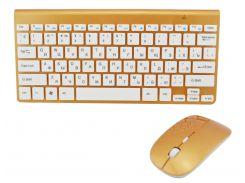 Русская беспроводная мини клавиатура + мышка Apple 902 Gold