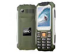 Кнопочный защищенный телефон Vkworld Stone V3S IP54, TFT 2.4 дюйма, 2 сим карты, 2200 mAh зеленый