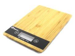 Весы кухонные электронные Domotec 5кг, с батарейками. Платформа из бамбука.