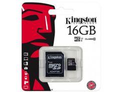 Карта памяти MicroSD Kingston 16Gb + адаптер 10 class original