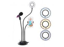 Набор блогера 3в1:гибкий штатив с Led кольцом+держатели для телефона и микрофона