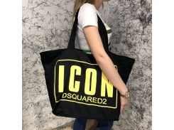 Beach Bag Dsquared2 Icon Cotton Black/Yellow