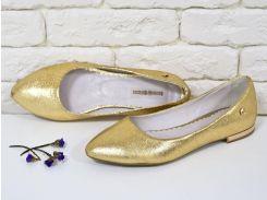 Балетки из натуральной кожи золотого цвета с фурнитурой на тонкой подошве бежевого цвета,  коллекция лето-весна 2016, Т-413