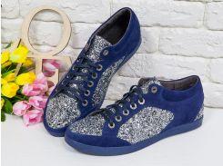 Блестящие Кеды из натуральной замши синего цвета в комбинации с блестками серебряного цвета на текстильной основе и прорезиненной синей подошвой,  Т-17405-02