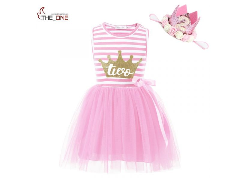 MUABABY Baby Girls Birthday Dresses Summer Princess Glitter Crown 2 Years Old Cotton Strip Tutu Dress