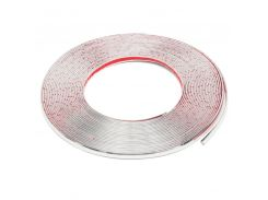 MTGATHER 10mmx15m Silver Car Chrome Styling Decoration Moulding Trim Strip Self Adhesive Soft PVC With Chromate Treatment