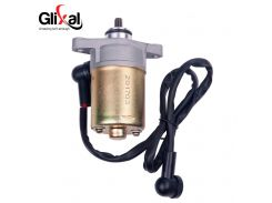 Glixal GY6 49cc 50cc 80cc 100cc Electric Starter Motor with Wire for 4-stroke QMB139 13QMB Scooter Moped ATV Go-kart Engines