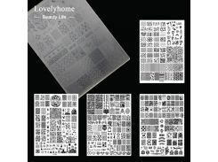 1pcs XL Acrylic Nail Stamping Plates Clear Templates Stamp Assorted Designs Manicure Tool Lightweight