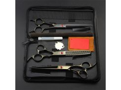 Professional Black pet 7 inch shears dog grooming hair scissors set cutting barber comb thinning clipper hairdressing scissors