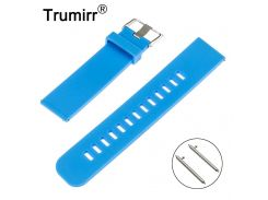Quick Release Watchband for Pebble Time Round 20mm Bradley Timepiece Silicone Rubber Band Smart Watch Strap Bracelet Black Blue