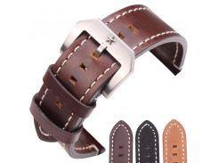 24mm Cowhide Watchband Men Vintage Genuine Leather Black Dark Brown Watch Band Strap Wiht Stainlee Steel Pentagram Clasp