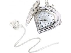 Fashion Silver Hollow Quartz Heart Shaped Pocket Watch Necklace Pendant Chain Clock Women Gift High Quality LXH