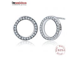 LZESHINE Hot Fashion 100% 925 Sterling Silver Forever Circular Stud Earrings For Women Authentic Original Jewelry Gift PSER0082
