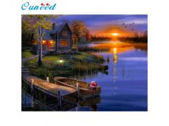 Ouneed Happy Home Lakeside Lodge Diamond Embroidery 5D Diamond DIY Painting Cross Stitch Crafts 1 Piece